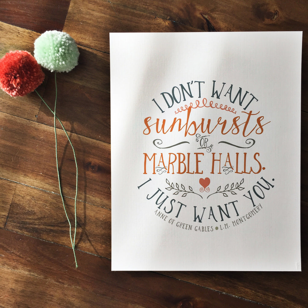Sunbursts & Marble Halls Wall Print - Anne of Green Gables Quote