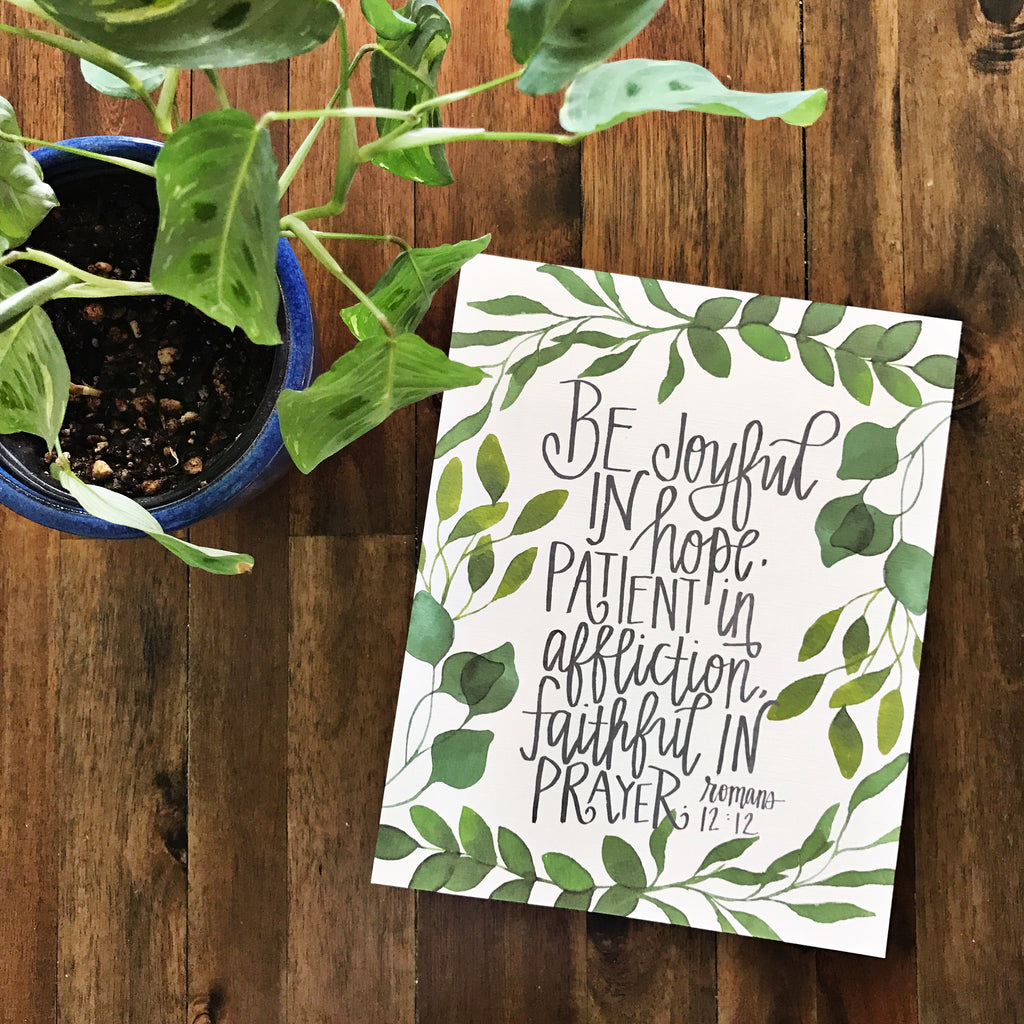 Be Joyful In Hope Handlettered Wall Print - Romans 12:12