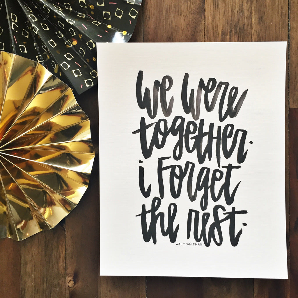 We Were Together Wall Print - Walt Whitman Quote