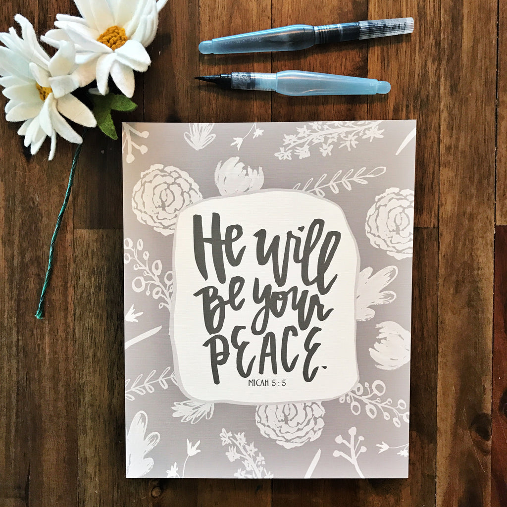 He Will Be Your Peace Wall Print - Micah 5:5