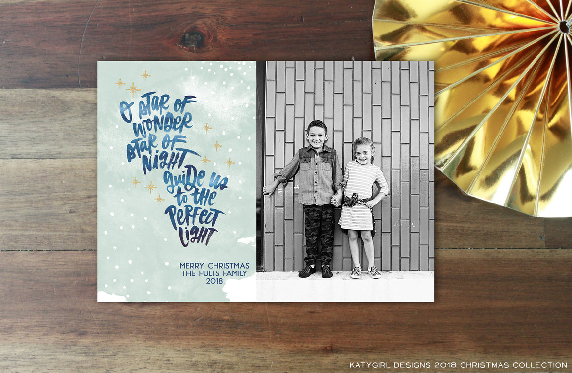 Star Of Wonder - 5 x 7 Christmas / Holiday Photo Card - Digital Copy Only - Star Of Wonder Song Lyric