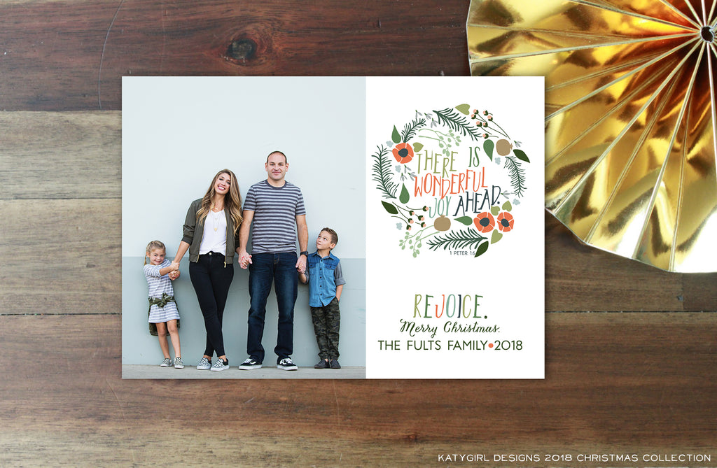 There Is Wonderful Joy Ahead (Red Edition) - 5x7 Christmas / Holiday Photo Card - Digital Copy Only