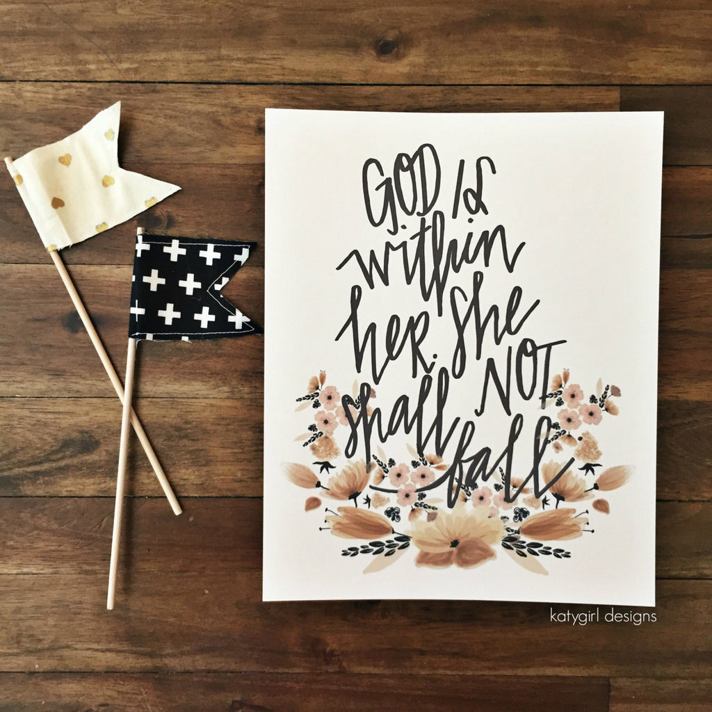 God Is Within Her Handwritten Wall Print - Psalm 46:5