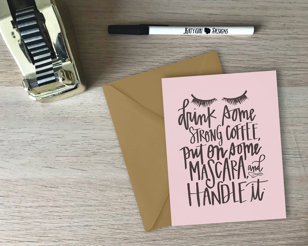 Coffee & Mascara Greeting Card - with coordinating envelope