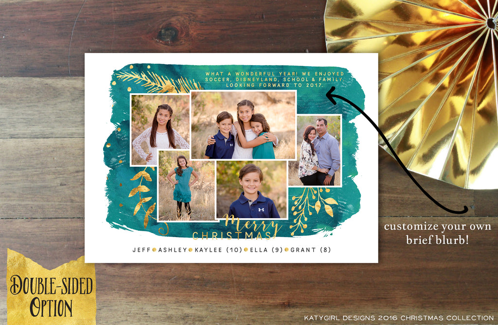 Heaven & Nature Sing - 5x7 Holiday Christmas Photo Card - Digital Copy Only - Double Sided Options - Faux Gold, Christmas Carol