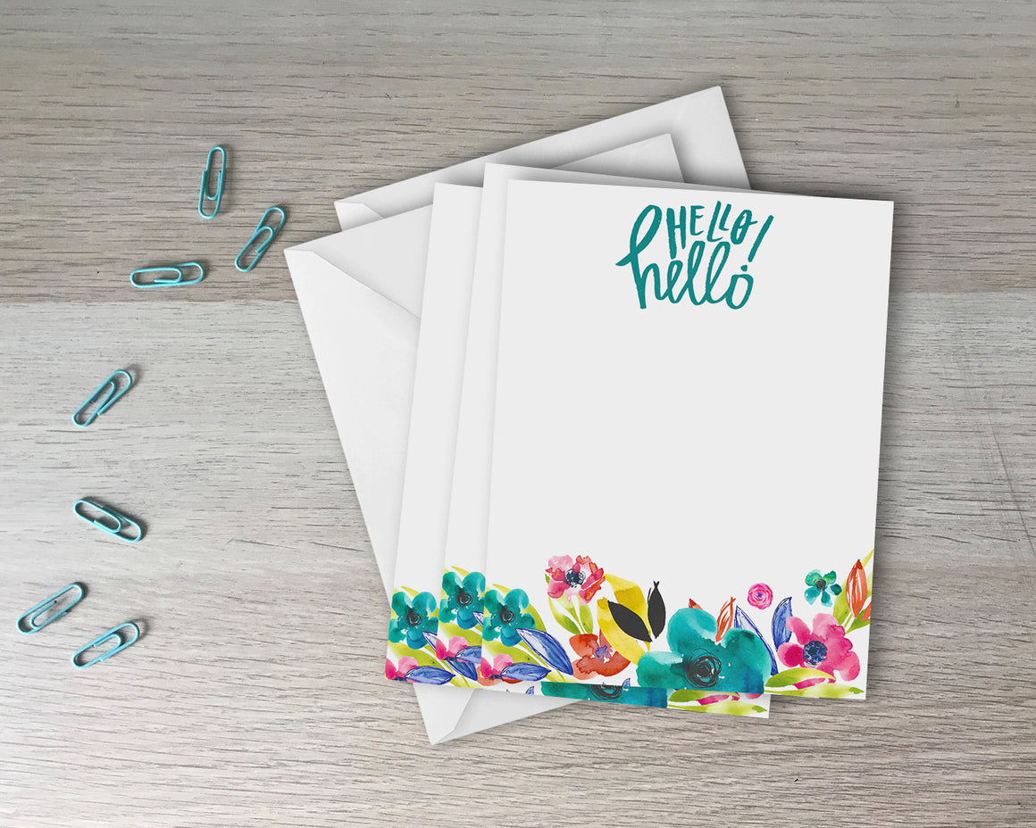Hello Hello Set of 6 Flat Notecards