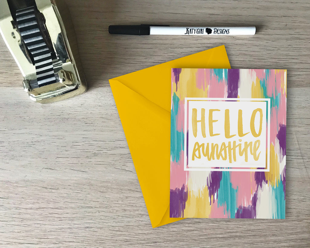 Hello Sunshine Card - hand lettered with coordinating envelope