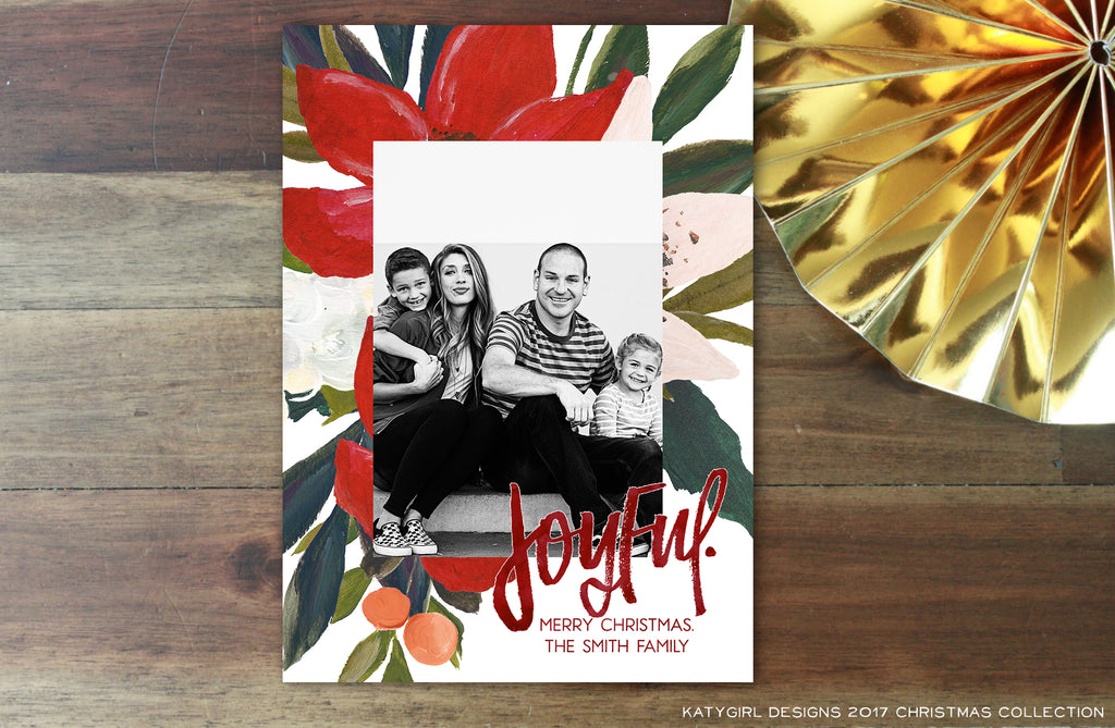 Joyful - Handlettered & Watercolor - 5 x 7 Holiday Christmas Photo Card - Digital Copy Only - Double Sided Option