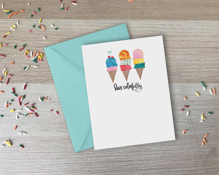 Live Colorfully Greeting Card - with coordinating envelope
