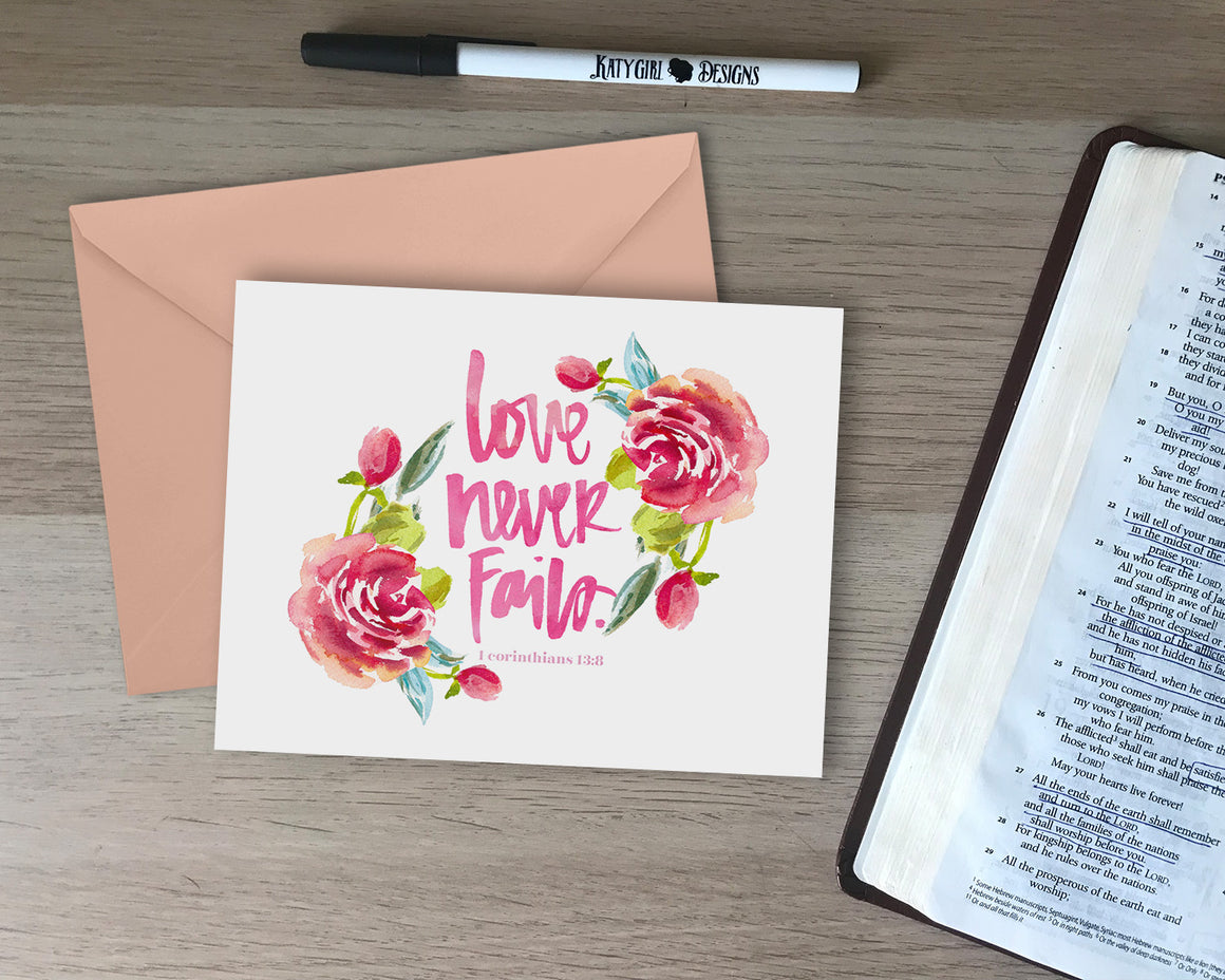Love Never Fails Love Card - with coordinating envelope
