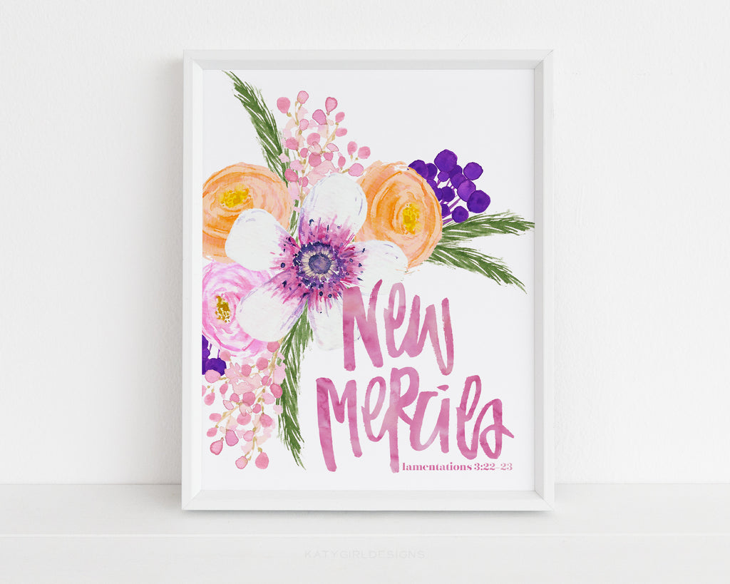 New Mercies Wall Print - Lamentations 3:22-23