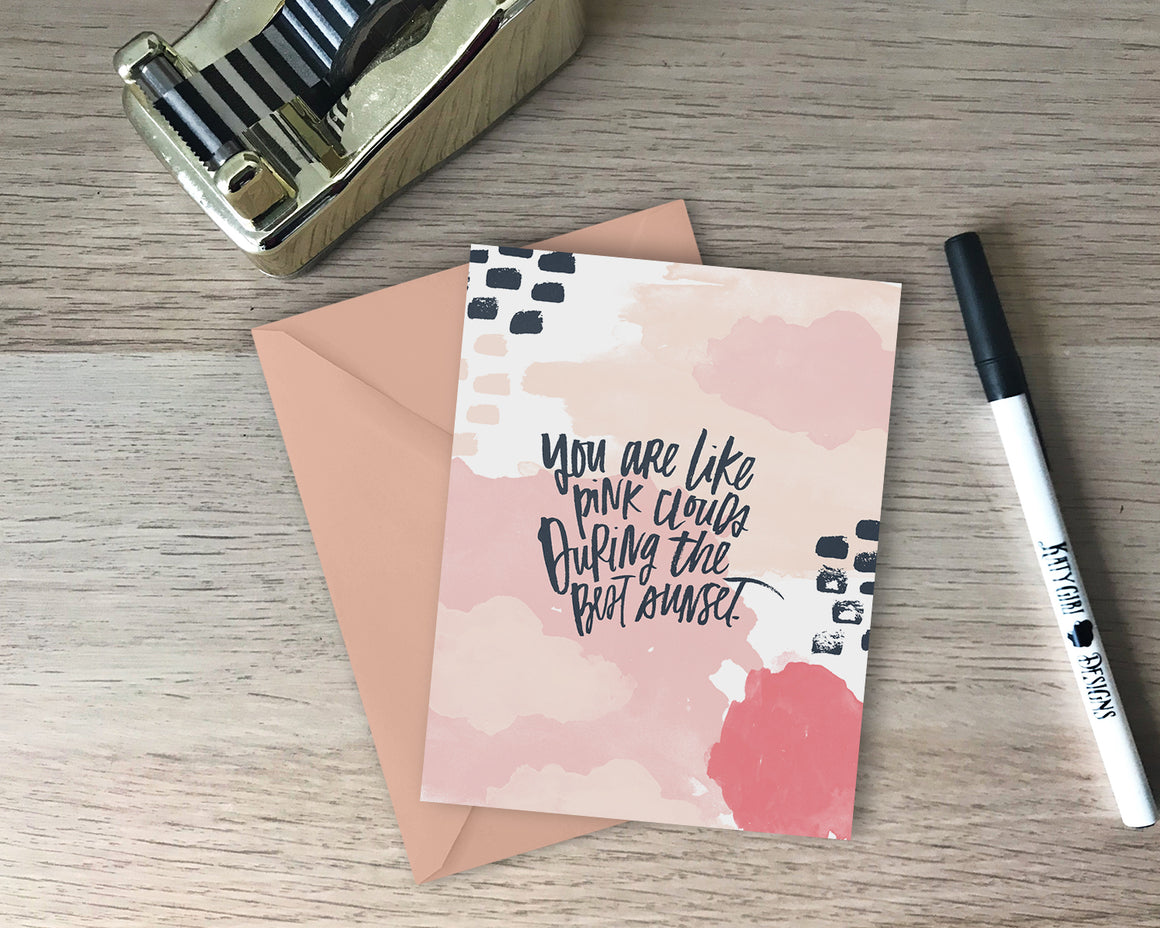 You Are Like Pink Clouds Greeting Card