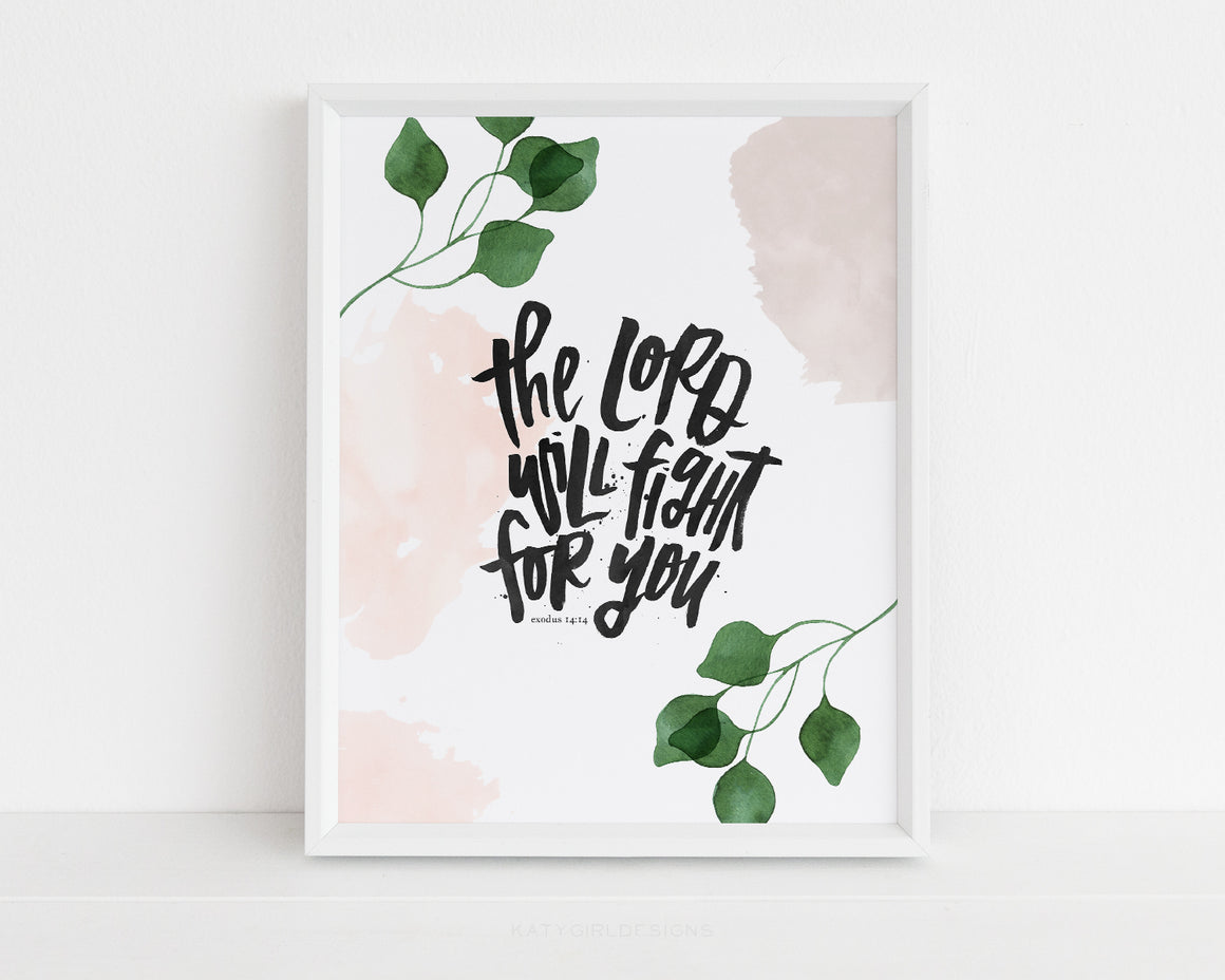 The Lord Will Fight For You Wall Print - Exodus 14:14