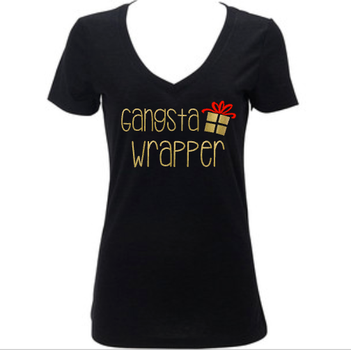 Gangsta Wrapper, Women's Funny Holiday Christmas Shirt