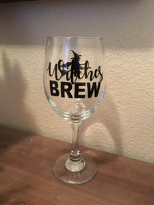 Witches Brew Wine Glass, Happy Halloween