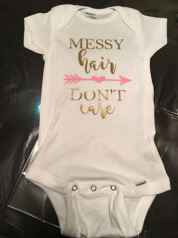 Messy Hair Don't Care, Baby Girl Onesie, Pink & Gold