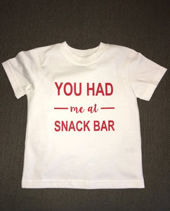 You Had Me At Snack Bar, Kids Funny Sports Shirt