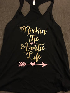Rockin the Auntie Life, Women's Tank Top, Pink & Gold