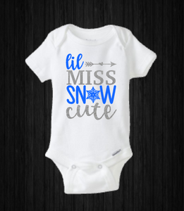 Lil Miss Snow Cute Baby Girl Onesie, Holiday, Merry Christmas