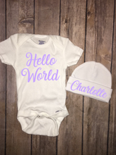 Hello World Onesie & Beanie, Baby Shower, Homecoming Outfit