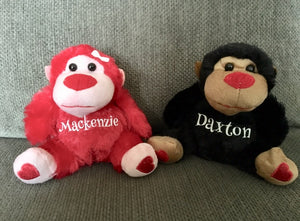 Personalized Valentine's Day Plush Gorillas, Monkey Love