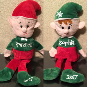Personalized Plush Christmas Elves, Boy or Girl, Elf On a Shelf