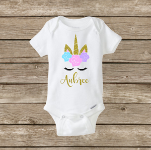 Baby Girl Personalized Unicorn Onesie, Baby Shower Gift