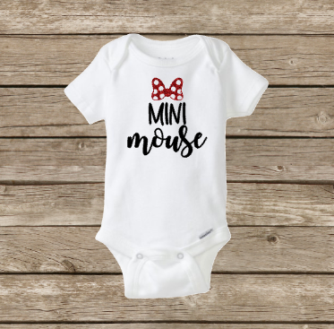 Mini Mouse Baby Girl Onesie, Mommy and Daughter Shirt Set