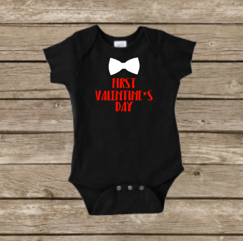 Boys First Valentine's Day Baby Onesie, Cupid Heart, Holiday