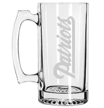 New England Patriots Football Beer Mug, Custom Etched Super Bowl, Sports