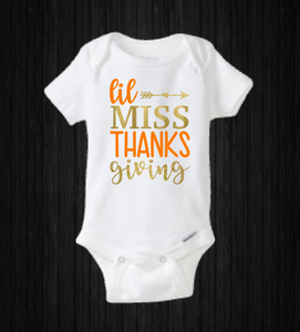 Lil Miss Thanksgiving, Baby Girl Holiday Onesie, Turkey Day