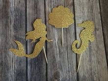 Glitter Gold 12pc Set, Nautical Party Decor, Mermaid Seashells & Seahorse, Cupcake Toppers