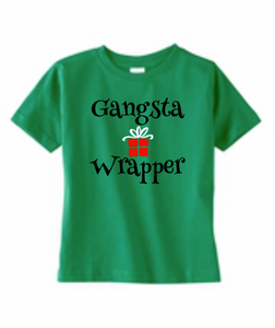 Toddler Kids Gangsta Wrapper Christmas Shirt, Boy or Girl