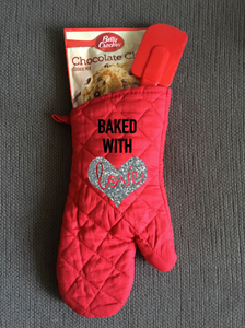 Baked With Love, Glitter Heart, Personalized Kitchen Oven Mitt