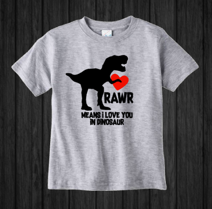 Boys Valentine's Day Shirt, Rawr Means I Love You, Dinosaur T Rex