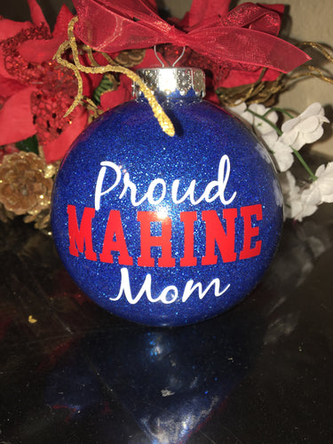 Proud Marine Mom Christmas Ornament Bulb, Tree Decor, Gift USA