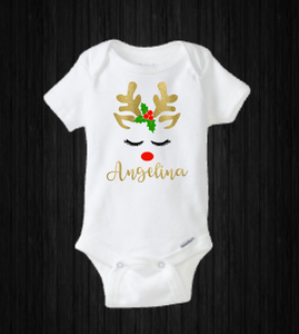 Baby Girl Christmas Onesie, Personalized Reindeer Rudolph, Holiday