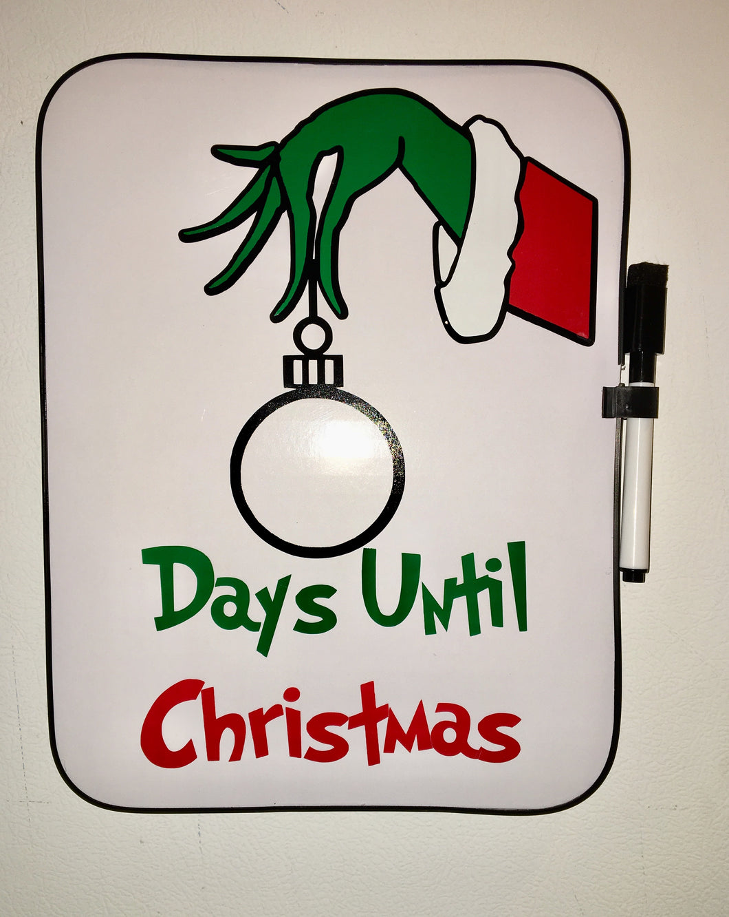 Grinch Christmas Countdown Board, Dry Erase, Kids Xmas Decor