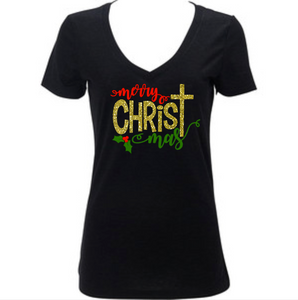 Merry Christ Mas, Women's Christmas Shirt, Religious Cross
