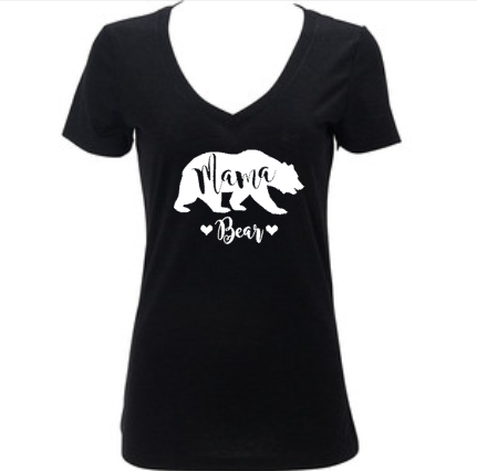 Mama Bear Women's Vneck Shirt, Mother's Day Gift, Gift for Mom, New Mommy, Baby Shower