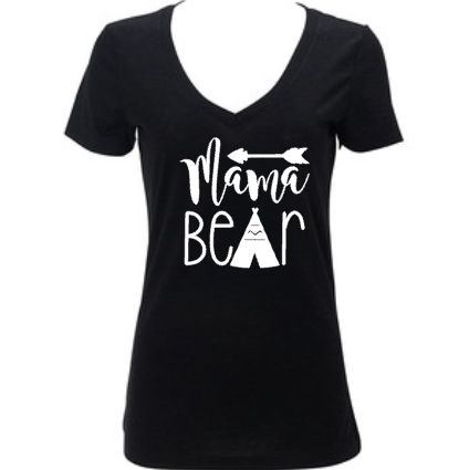 Mama Bear Women's Vneck Shirt, Gift for Mom, New Mom, Baby Shower Gift, Mother's Day