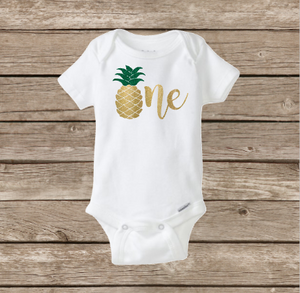 Pineapple Birthday ONE Onesie, Baby Girl, Hawaii Aloha, First Birthday