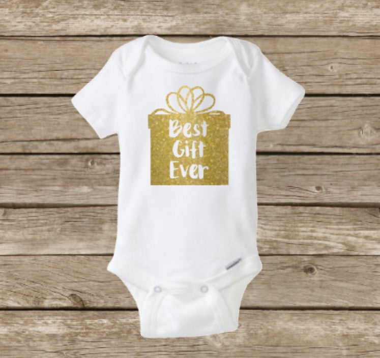 Christmas Baby Onesie, Best Gift Ever, Baby's First