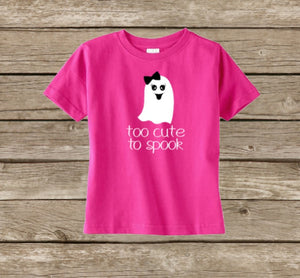 Girls Halloween Shirt, Ghost Too Cute To Spook