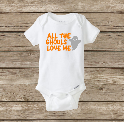 All The Ghouls Love Me, Baby Boy Halloween Onesie, Baby's First