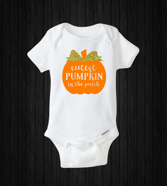 Cutest Pumpkin in the Patch, Halloween Baby Girl Onesie