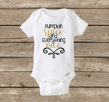 Pumpkin Spice and Everything Nice Baby Girl Onesie, Fall Halloween Baby