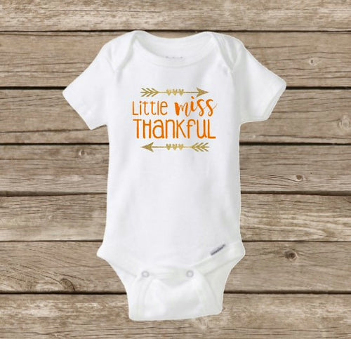 Little Miss Thankful, Fall Thanksgiving Onesie, Baby Girl Turkey Day Shirt