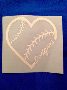 Dodgers Decal, Dodgers Heart Sticker Decal, Los Angeles Dodgers, I Love The Dodgers, Car Decal, Los Doyers, LA Decal