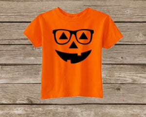 c5445def Kids Halloween Pumpkin Shirt, Toddler Halloween Shirt, Happy Halloween,  Glasses Hipster